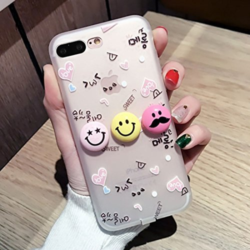Hülle für iPhone 7 plus , Schutzhülle Für iPhone 7 Plus 3D Lächeln Gesicht Ausdruck Liebe Muster Silikon Schutzhülle Fall mit USB & Kopfhörer Port Anti-Staub Stecker ,hülle für iPhone 7 plus , case fo Ip7p2665a