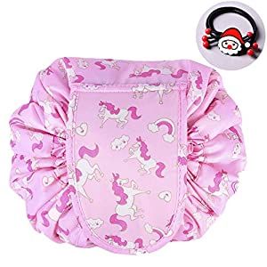 TOPSEFU Lazy Cosmetic Bag, Large Capacity Makeup Bag Toiletry Bag Quick Makeup Case Pouch Jewelry Organizer Multifunction Storage Quick Pick Up with Zipper and Drawstrings ¡­ (Pink horse)