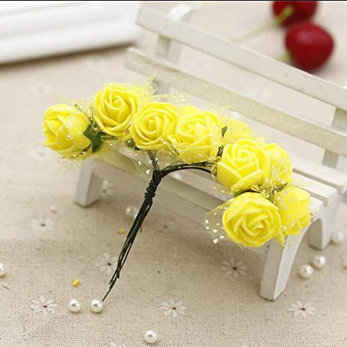 INTRERSTING 144 stücke künstliche Mini Schaum Blumen Rose tüll rot DIY geschenkbox Handwerk Papier Scrapbooking Blumen Dekoration gefälschten blumenstrauß Kranz