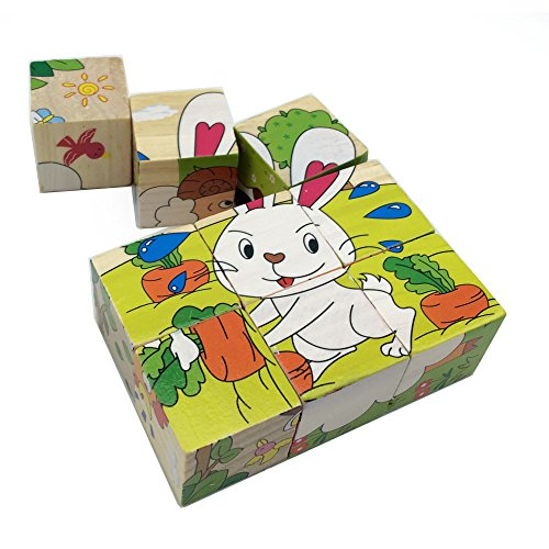 Rolimate Wooden Cube Jigsaw Puzzles Blocks - Hund Schaf Ente Huhn Kaninchen Milchkuh (Farm - Puzzle Saw Jig Hund
