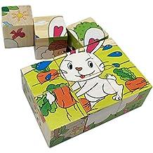 Rolimate Animales de Granja Cubo de Madera Jigsaw Blocks Puzzles - Perro de ovejas pato conejo pollo vaca lechera (6)