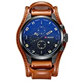 XLORDX Curren Herrenuhr Chronograph Datum Blau Glas Leder Braun Sportuhr Schwarz