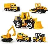 AEVEA 12CM Voiture Miniature Véhicule de Construction Chantier à Friction Lot 6 Pcs Jouet Enfant Garçon Fille 3 Ans