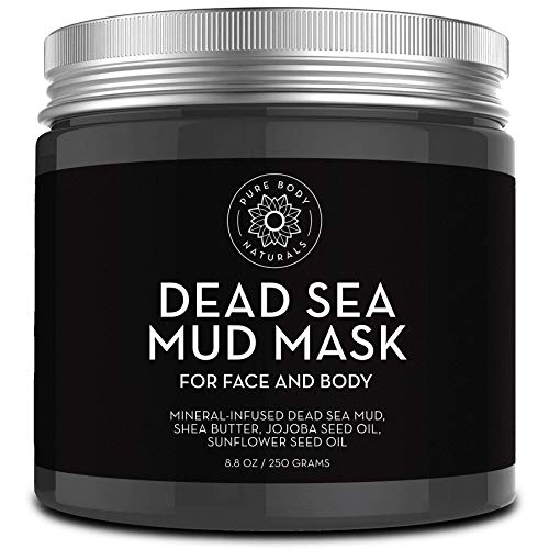 Pure Body Naturals Dead Sea Mud Mask for Reducing Wrinkles, Minimizing Pores and Facial Treatment, 250g