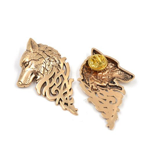 Kauf 2 und bekomme 1 gratis! Gold Antique Colour, 5 cm Hochwertig Game of Thrones Brosche, Hand To The King Tywin Lannister, verschiedene Designs, Modeschmuck, Silber oder Gold, Vintage, Dire Wolf Broach Gold Antique Colour, 5 cm (Womens Collection New Season)