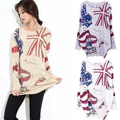 Bigood Pull Grande Taille Femme Tricot Sweat Imprimé Col Rond sweat-shirt Manche Longue Mode Blanc