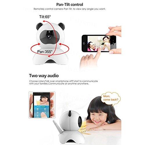 EsiCam baby monitor wifi cámara oculta, niñera de vigilancia, cámara para Smartphone. Juguete panda para niños cuidado de mascotas, HD 720p, inclinación y movimientos de cabeza, audio bidirecc