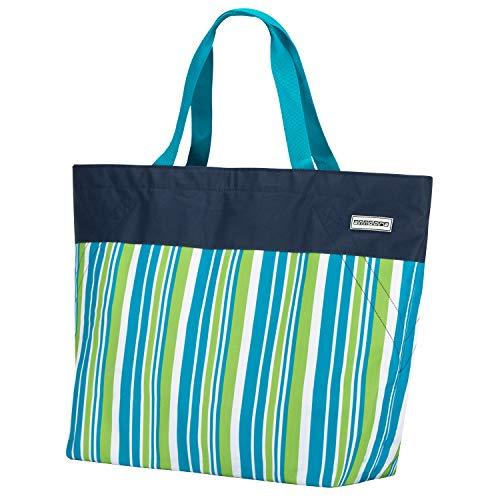 anndora XXL Shopper dunkelblau Limette - Strandtasche 40 Liter Schultertasche Einkaufstasche