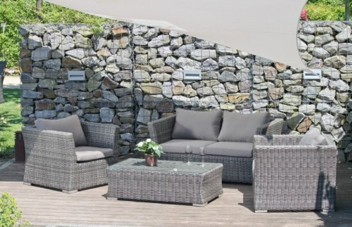 Luxus Garten Lounge Set - Sofa, 2 Sessel, Tisch, inkl. Auflagen, Poly-Rattan-dunkelgrau
