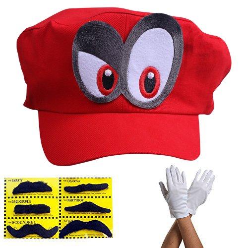 Super Mario Odyssey Mütze Augen RECHTS - Set mit 1x Handschuhen und 6X Klebe-Bart - Kostüm für Erwachsene & Kinder - perfekt für Fasching, Karneval & Cosplay