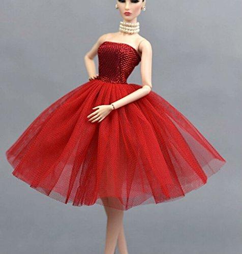ität Spitze Hochzeit Kleid Kleider Bekleidung/ Tutu Rock Kleidung für 27-30CM-Puppe (Rot) ()