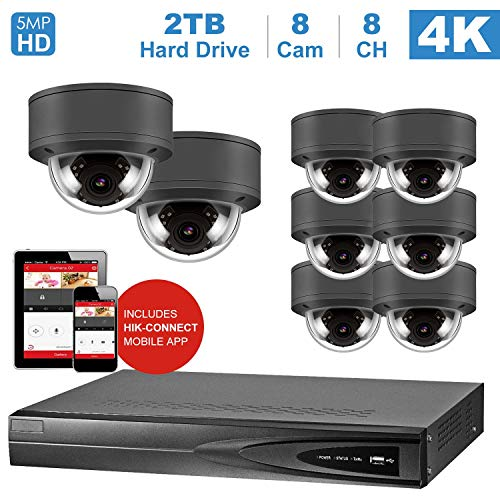 8 Ports NVR Kits 4K Home Security System, mit 8 IP Poe Kamera 5MP Outdoor wetterfest, einschließlich 2 TB HDD (NVR von Hikvision) (Port Nvr 8)
