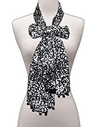 BOLLYWOOD ACCESSORY - Polyester Animal Print Scarf / Stole / Dupatta With Pom Pom Lace (Style No: BA1090)