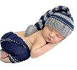 aierwish Neugeborenes Mädchen-Jungen-Baby-Fotografie Prop Crochet Strickhandgemachte Hut Cape Kostüm