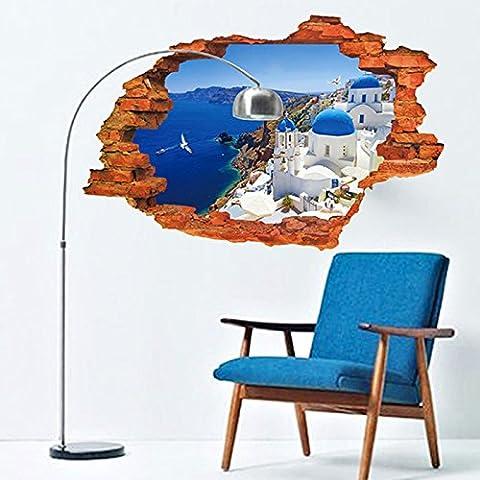 XMJR Wall decoration 3d massive Wand Student Hostel Schlafzimmer Wand Poster Aufkleber Schlafzimmer Zimmer sind kreative Dekorationen sind durch gemeinsame Berge und Flüsse, 3D-Ansicht des Mini-Meer der (Familien Gemeinsam Auf Weihnachten)