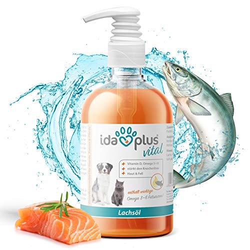 Ida Plus - Premium Lachsöl in Lebensmittelqualität für Tiere - 500 ml Pumpflasche - für Hunde, Katzen und Pferde - mit Omega 3 & 6 Fettsäuren - Fischöl kaltgepresst - Made in Germany -