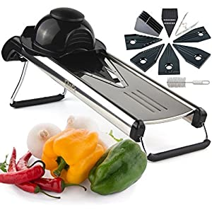 Chef's INSPIRATIONS Premium V-Blade Mandolin Slicer, Cutter, Julienne and Food Grater. Best For Slicing Onions, Potatoes, Tomatoes, Fruit and Vegetables. Includes 6 Inserts, Cleaning Brush, Blade Safety Sleeve. Stainless Steel. Gloves Included 2