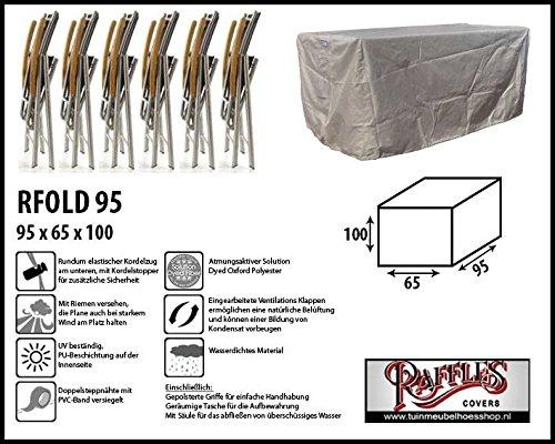 Raffles Covers RFOLD95 Schutzhülle 4 bis 6 Relaxstühle, Hochlehner Schutzhülle für Stapelstühle und Relaxsessel, Abdeckhaube für Gartenstühle