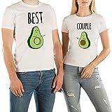 VivaMake® 2 Partnerlook T Shirts Für Damen und Herren mit Lustige Aufdruck Avocado Liebe
