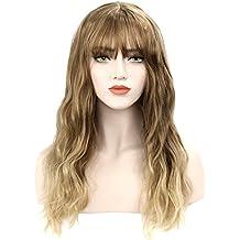 DiscoBall Ombre color largo rizado peluca rubia con flequillo onda natural Pelucas para cosplay cabello sintetico