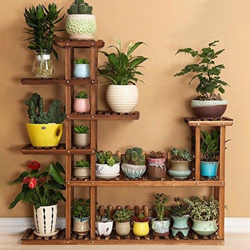 Wysm soporte de flores de madera maciza planta de planta for Estanteria plantas interior