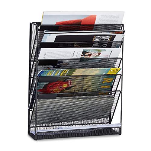 Relaxdays Porte-revues mural porte-journaux porte-magazines 6 casiers HxlxP: 40 x 32 x 10 cm, noir
