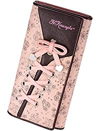 SAFATA Geldbörse Damen Leder Elegant Süß Portmonee Fashion Blumen Brieftasche Schuhband Geldbeutel Lange Schöne Portemonnaie für Frauen