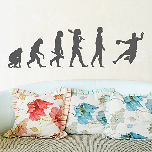 denoda Evolution Handballer - Wandtattoo Gold 336 x 100 cm (Wandsticker Wanddekoration Wohndeko Wohnzimmer Kinderzimmer Schlafzimmer Wand Aufkleber)