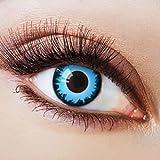 Farbige Kontaktlinsen Blau Ohne Stärke Blaue Crazy Weiche Motiv-Linsen Farbig Halloween Karneval Fasching Cosplay Kostüm Blue mit Rand Schwarz Werwolf Zombie