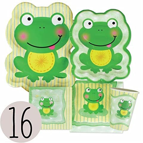 Froggy Frog - Party Tableware Plates, Cups, Napkins - Bundle for 16