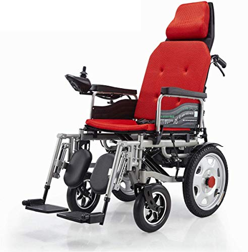 RZBB Electric Wheelchair,Foldable Compact Mobility Aid Wheel Chair,Reclinable Backrest, Adjustable Portable Medical Scooter,Supports 265 Lb,Automatic Intelligent Wheelchair