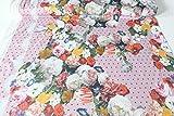 Qualitativ hochwertiger Jersey Stoff mit Blumen und Bordüren auf Altrosa, digital bedruckt als Meterware mit Öko-Tex Zertifizierung zum kreativen Nähen von Erwachsenen und Kinder Kleidung, 50 cm
