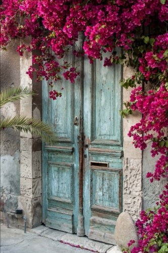 Weathered Blue Door With Flowering Bougainvillea Journal: 150 Page Lined Notebook/Diary