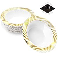 MATANA 20 Premium Reusable Plastic Bowls with Elegant Gold Ripple Borders, 18 cm| Durable & Reusable Disposable Party Tableware| Perfect for Weddings Bridal & Baby Showers Events Parties.