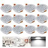 Hengda® 12 Set 7W LED Kaltweiß Spot Einbauleuchte Einbau Strahler Decken Lampe im Wohnzimmer, Schlafzimmer