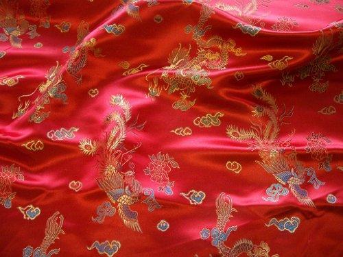 Rot und Gold traditionellen chinesischen bestickt Brokat Polyester * * FREE UK Post * * seidig Satin Brokat Oriental Dragon Print Chinesische Stoff Kleid Material Handwerk -