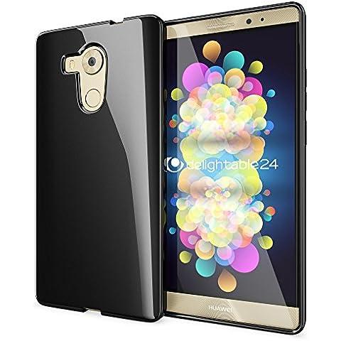 delightable24 Cover Case in Silicone TPU per HUAWEI MATE 8 SMARTPHONE - Nero - Nero Gioielli Silicone