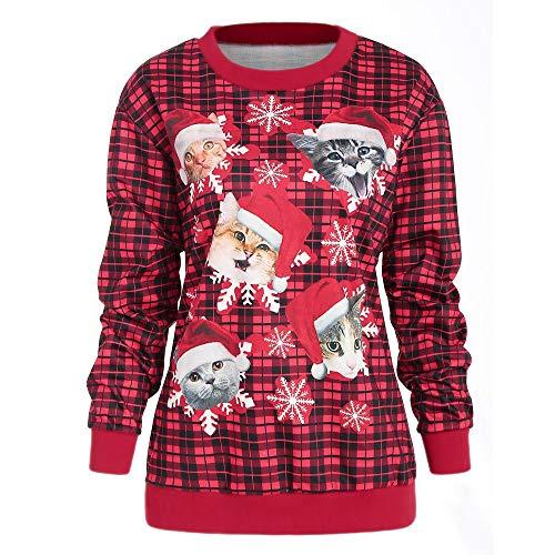 Fanxing Damen Lässige Katze Schneeflocke Plaid Weihnachten Pullover Sweatshirt Top Bluse (Rot, XL)