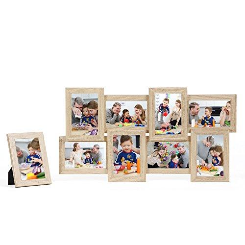 """Songmics Bilderrahmen Collage für 8 Fotos je 10 x 15 cm (4 x 6"""") + 1 x einzelner Fotorahmen aus MDF-Platten Eiche RPF108Y"""