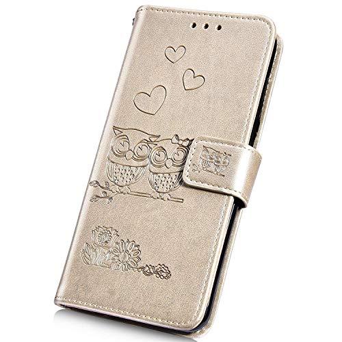 Surakey pour Coque Samsung Galaxy A20e étui à Rabat en Cuir PU,Fleur Hibou Motif Etui Housse Cuir PU Pochette Portefeuille Magnétique Flip Case Cover Wallet Coque de Protection (Or)