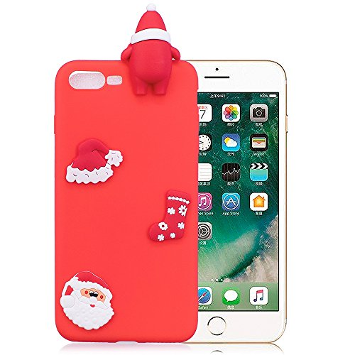 Iphone 7 Plus Coque Silicone, Iphone 8 Plus Coque Silicone, Iphone 7 Plus Case shock, Iphone 8 Plus Case Ultra Fine, Iphone 7 Plus Accessoire Coque, Iphone 8 Plus Accessoire, Coque Iphone 7 Plus Silicone, Iphone 8 Plus Silicone?Nnopbeclik® (5.5 Pouce) Cadeau de Noël / Noël Coque 3D Cartoon Charmant en Coloré Style Backcover Doux Soft Housse Protection Antiglisse Anti-Scratch Etui pour IPHONE 7 PLUS / IPHONE 8 PLUS - [Rouge2]