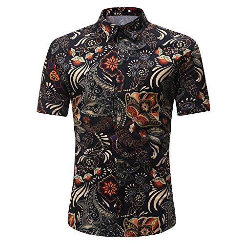 KIMODO Herren 3D Drucken Hawaii Hemd Slim Fit T-Shirt Kurzarm Persönlichkeit Lässig Top Bluse Sommer Freizeit Shirt für Männer -