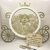 sur le thème de Disney Princess Cendrillon Carrosse de citrouille Blanc et doré Mariage Drop Box livre d'or anniversaire livre d'or en bois