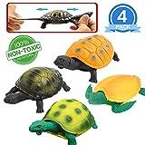 Giocattoli tartaruga, 5 Pollici Gomma Testuggine Set (4 Pezzi), Materiale Sicurezza TPR , Può Nascondere in Shell, Mondo Zoo Animale Oceano Marino Vasca da Bagno Piscina Doccia ,Bomboniere Ragazzi