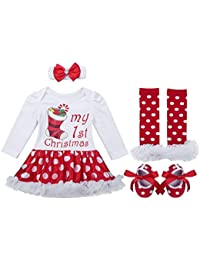 8690e5eb5c7e TiaoBug Baby Girls Xmas Party Outfits Santa Claus Tutu Romper Dress with  Headband Leg Warmer Shoes