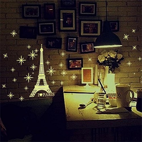 Decorie Stars Tower Fluorescent In The Dark Wall Stickers for Kids Bedroom Decor 27*35cm