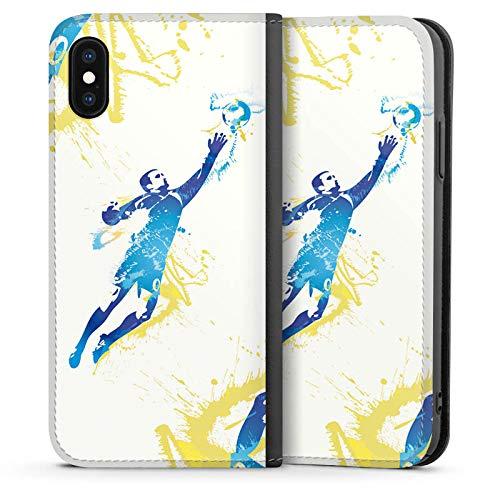 DeinDesign Leder Flip Case kompatibel mit Apple iPhone XS Tasche Hülle Torhueter Football Fussball -