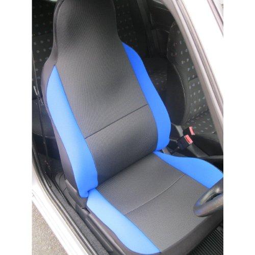 Volkswagen T5 Transporter-Coprisedili, colore: grigio antracite e tessuto blu-Rullo a 2 ante