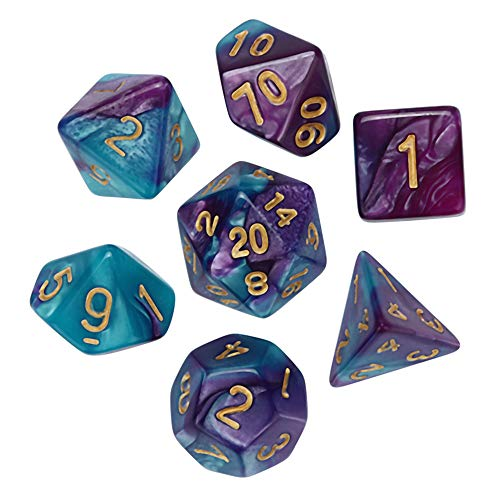 TianranRT 7Pcs Spiel Dungeons & Drachen polyedrisch D4-D20 Multi Seitig Acryl Würfel Dragons Polyedrischen Seitige (D)