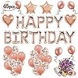 MMTX Décoration d'anniversaire en Or Rose pour Les Filles, Anniversaire Ballon Rose Kit Happy Birthday Ballon, 12 Ballons Confettis Rose Or, 32 Latex Ballon Rose Or, 4 Ballons Chiffre étoile Coeur...